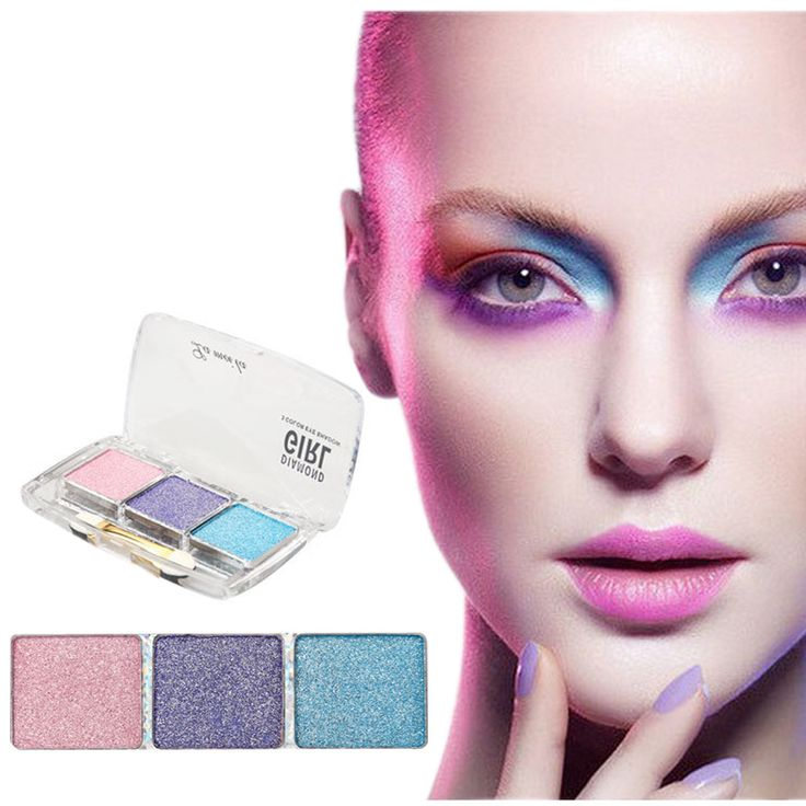 3 Color Diamond Bright  Eye Shadow Makeup Waterproof Natural Shining Glitter Eyeshadow Palette With Brush sombra maquiagem