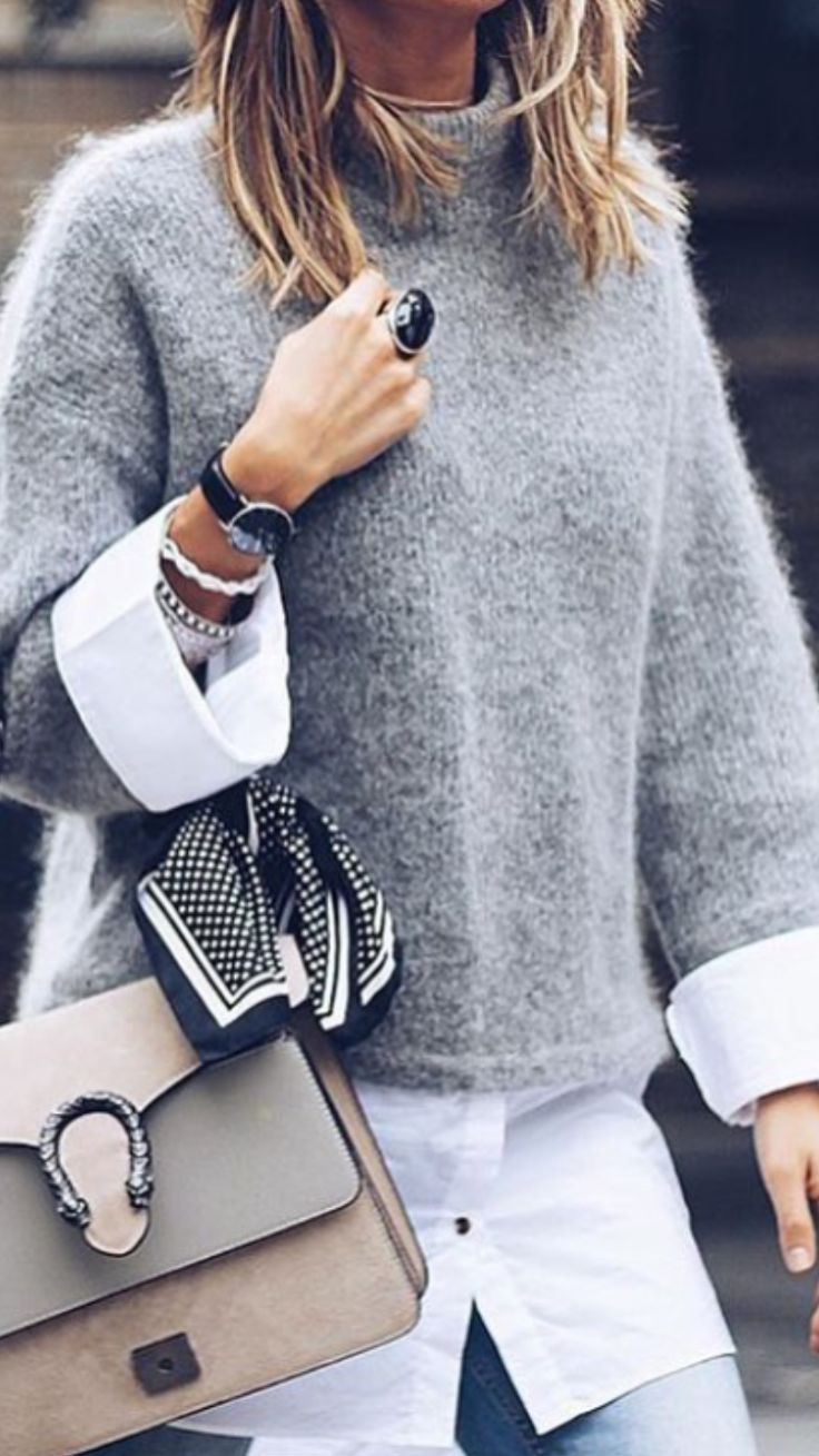 LOVE HER STUNNING OUTFIT WITH GREY ANGORA SWEATER, WHITE SHIRT, GORGEOUS BAG & BEAUTIFUL BLING!! – LOOKS JUST FABULOUS!!