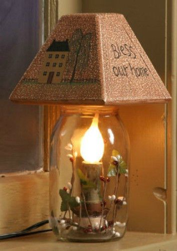 Primitive Country Electric Jar Candle Light Lamp BLESS OUR HOME Saltbox House  #Country