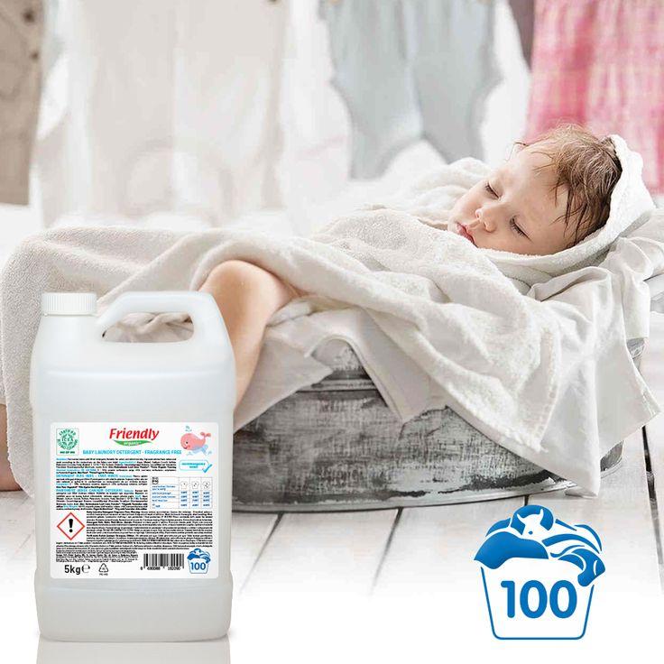 Friendly Organic Parfümsüz Bebek Çamaşır Deterjanı'nın 100 yıkama yapabileceğiniz yeni boyutu hem cebinize hem de çamaşırlarınıza dost!
