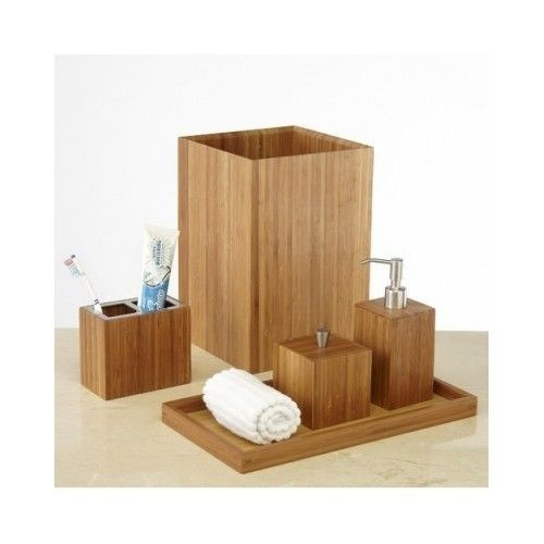 Bamboo Vanity Set Bathroom 5 Pcs Asian Lotion Dispenser Towel Tray Waste Basket