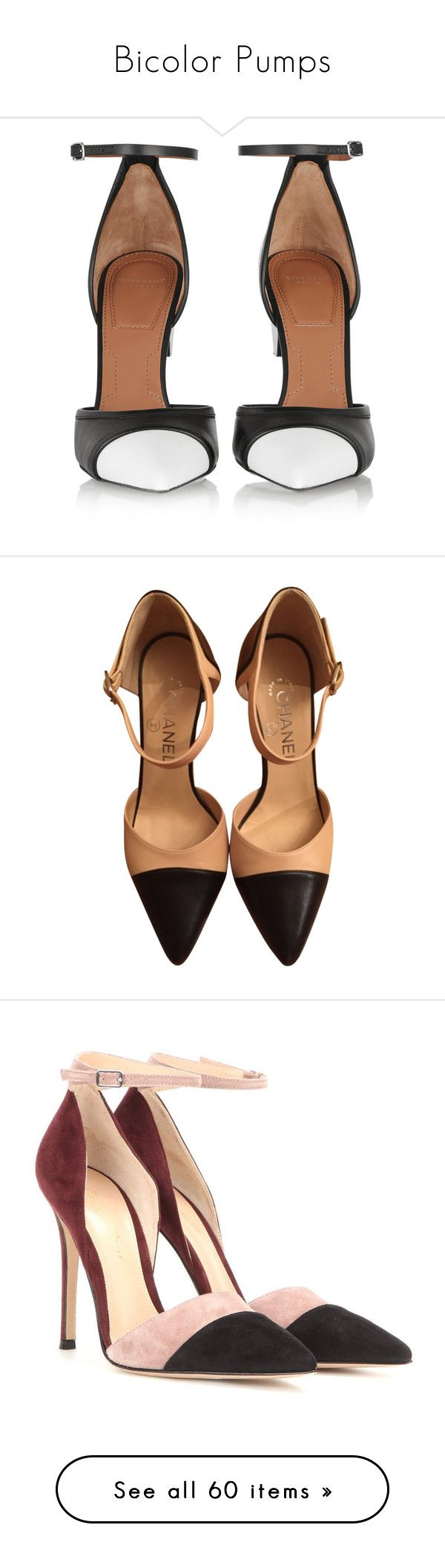 """""""Bicolor Pumps"""" by carlagoiata ❤ liked on Polyvore featuring shoes, pumps, heels, givenchy, footwear, leather shoes, stiletto high heel shoes, black and white ankle strap pumps, black and white shoes and givenchy shoes"""