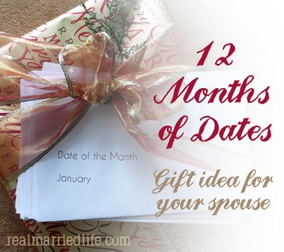 Christmas Gift idea - 12 envelopes with invitations to pre-paid dates.  Includes ideas.  realmarriedlife.com