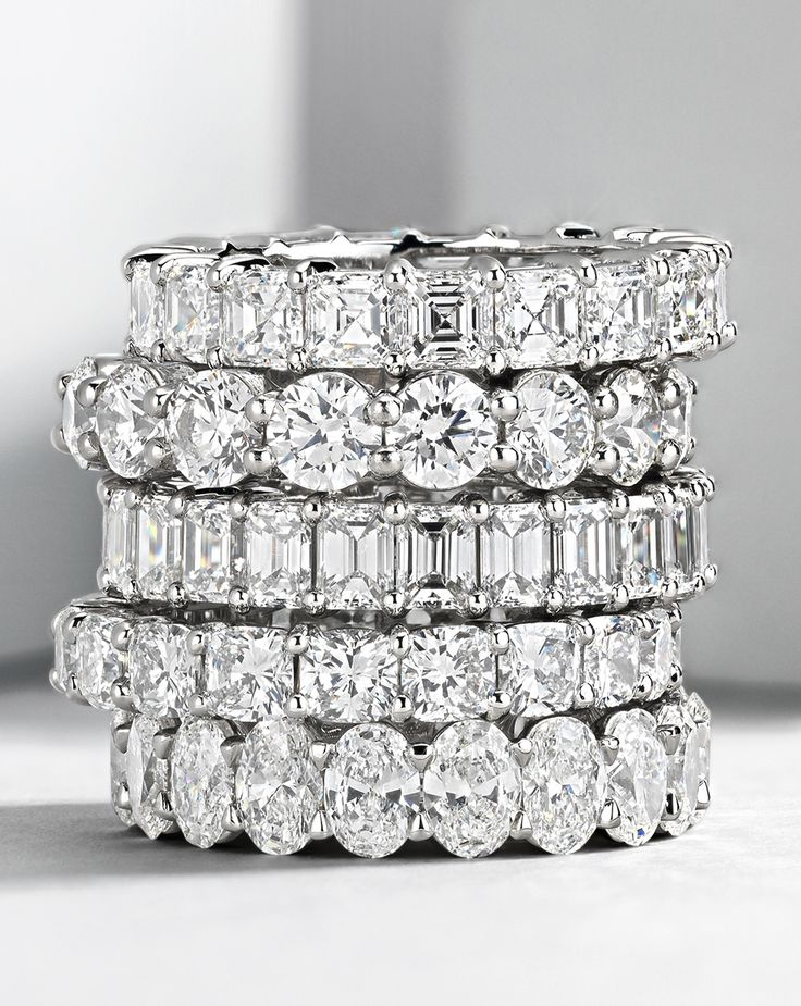 For a love that lasts forever, these eternity rings feature endless rows of breathtaking, perfectly-matched diamonds showcased in the finest platinum.