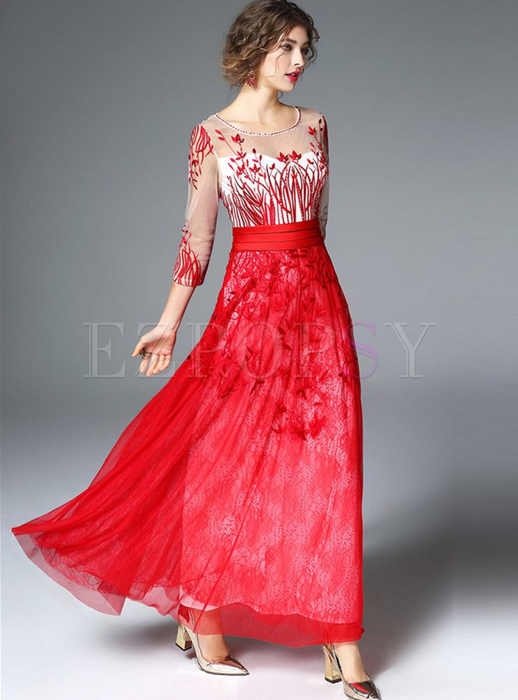 Shop for high quality Elegant Mesh Patch Embroidery 3/4 Sleeve Maxi Dress online at cheap prices and discover fashion at Ezpopsy.com