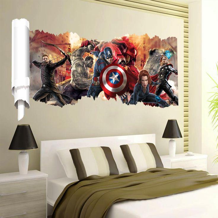 Мстители популярные супер герой на стены подарок характер наклейки для детской комнаты домашнего интерьера росписи арт-mail