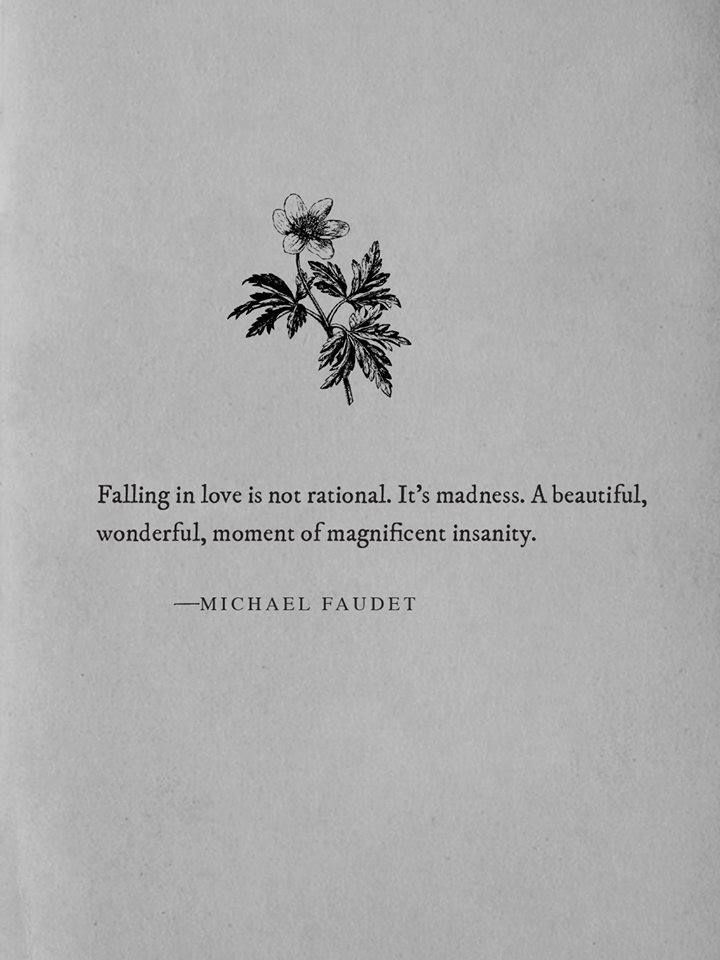 Quotes About Love : QUOTATION – Image : Quotes Of the day – Description Falling in love is not rational. It's madness. A beautiful, wonderful, moment of magnificent insanity. Sharing is Power – Don't forget to share this quote ! - #Love https://hallofquotes.com/2017/07/28/quotes-about-love-falling-in-love-is-not-rational-its-madness-a-beautiful-wonderful-momen/