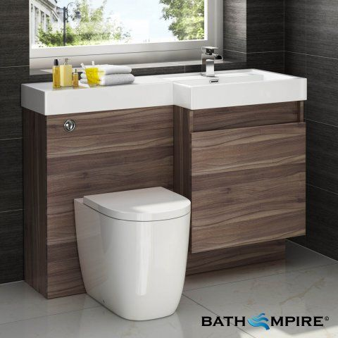 Outdoors Toilet with Unit - Light Walnut Combined Vanity Unit | Toilet and Basin | 1206x880mm - BathEmpire