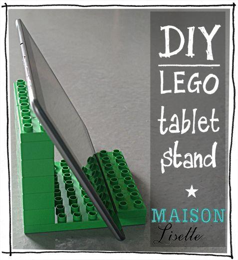 So easy to make! See my weblog for more http://maisonlisette.wordpress.com/2012/10/09/tablet-stand-van-lego/