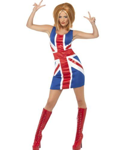 Ginger Spice + Wig Ladies Celebrity Fancy Dress Costume. 3 Sizes from 8 to 18.