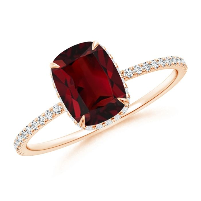 Angara Round Garnet Halo Regal Ring with Diamond Accents rp823FeI