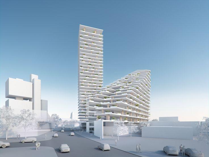 Ein Wohnhochhaus mit Schule - AllesWirdGut und Hertl.Architekten gewinnen in Linz