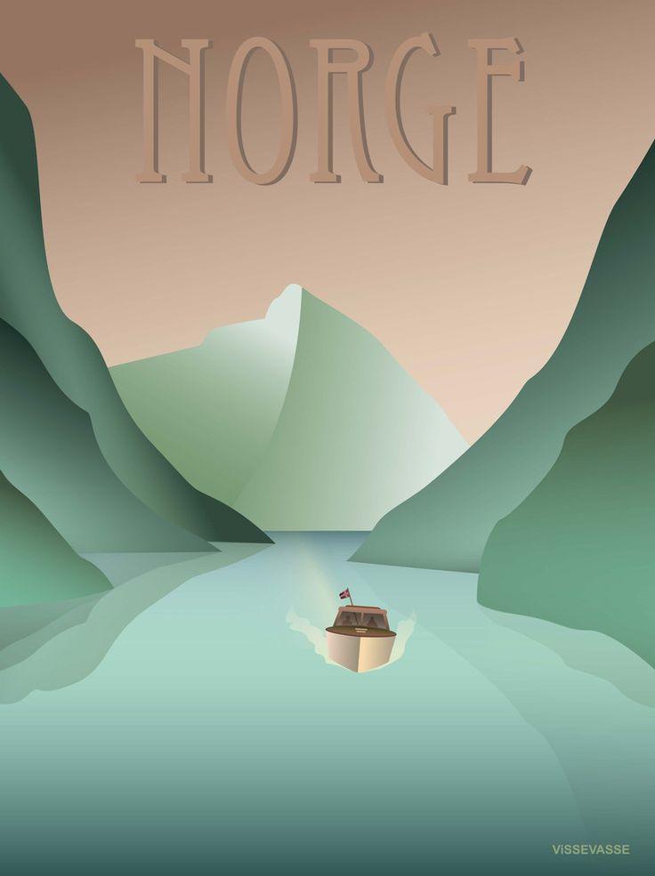 NORGE Fjorden – ViSSEVASSE -Retro - posters - Norway