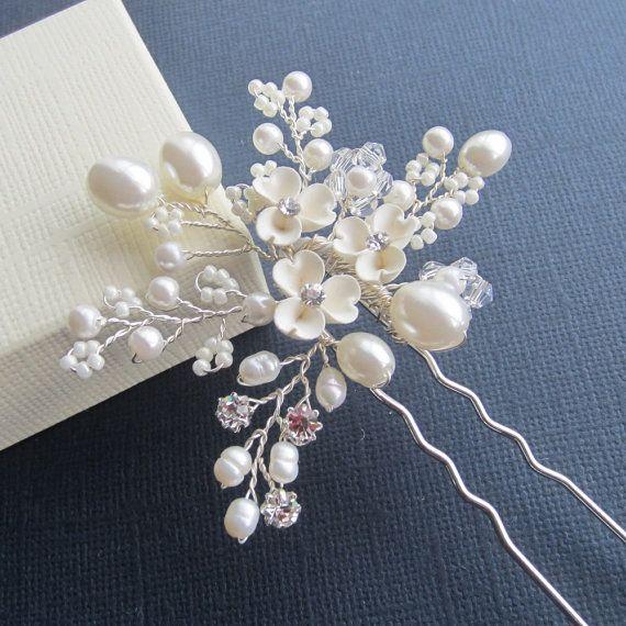 Novia flor de pelo Pin, Pin de pelo de Candice, boda accesorios para el cabello, pedazo de cabeza de novia, novia pelo Pin, tocados novia, tocados de novia,