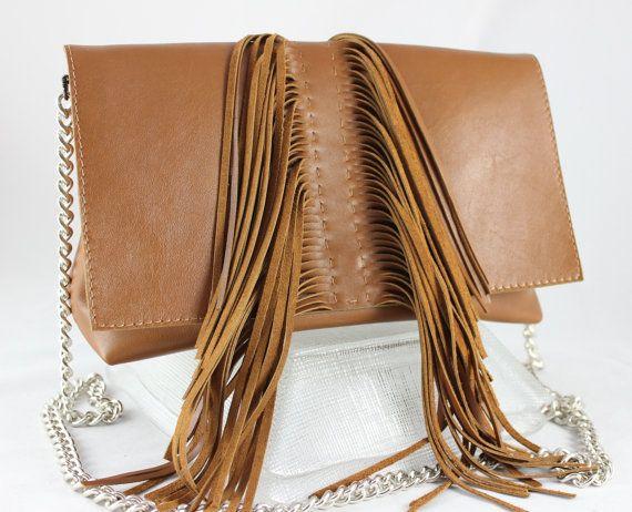 Fringe Leather Clutch Bag with Fringe Boho Bag Bohemian di HylaBag