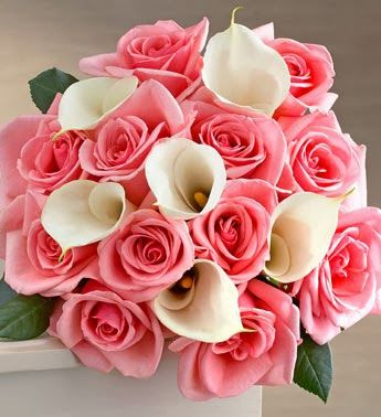 Beautiful roses & calla lillies