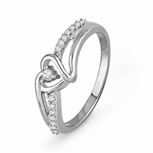 Sterling Silver Round Diamond Heart Promise Ring (1/10 cttw) D-GOLD. $54.99