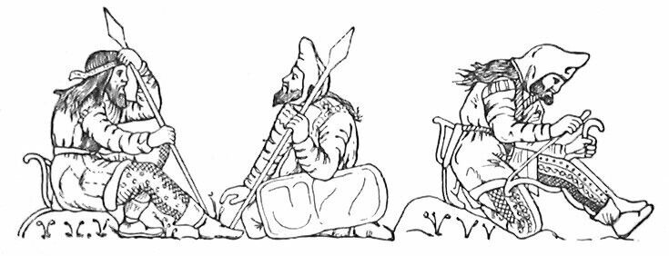 Scythian warriors, drawn after figures on an electrum cup from the Kul-Oba kurgan burial near Kerch, Crimea. The warrior on the right strings his bow, bracing it behind his knee; note the typical pointed hood, long jacket with fur or fleece trimming at the edges, decorated trousers, and short boots tied at the ankle. Scythians apparently wore their hair long and loose, and all adult men apparently bearded. The gorytos appears clearly on the left hip of the bare-headed spearman.