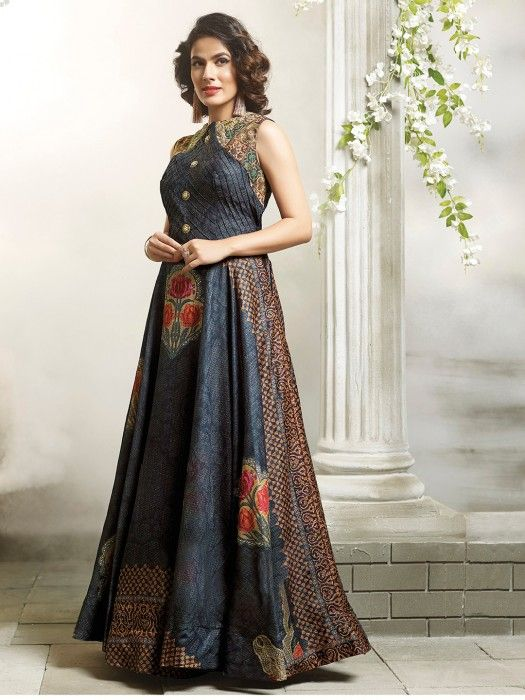 Silk Grey Party Wear Gown, evening gown for the season
