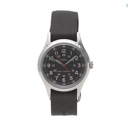 J.Crew - Timex® for J.Crew military watch (with color change bands http://www.jcrew.com/browse/single_product_detail.jsp?PRODUCT%3C%3Eprd_id=845524441797888&FOLDER%3C%3Efolder_id=2534374302058401&srcCode=AFFI00001&siteId=QFGLnEolOWg-XPIww10IjcWppBhvn1krlA)