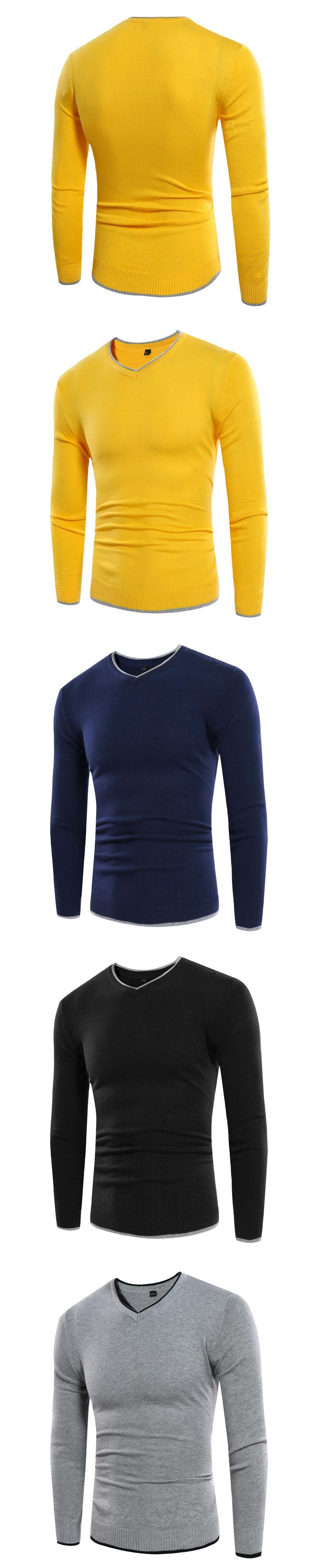 Autumn Winter Men Basic V Neck Sweater Mens Jumpers Korea Slim Fit Fashion Quality Unique Mens Sweaters for 2017 Pullover Men