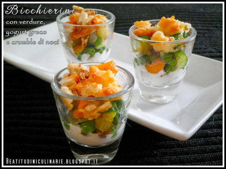 Beatitudini in cucina: Bicchierini con verdure croccanti, yogurt greco e ...  #fingerfood #foodporn #appetizers