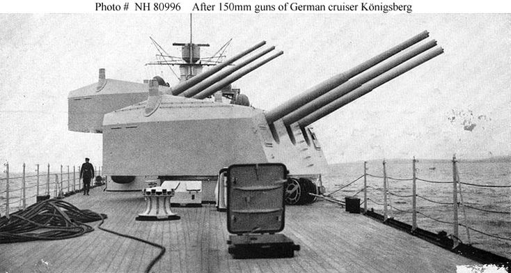Rear battery of light cruiser Konigsberg