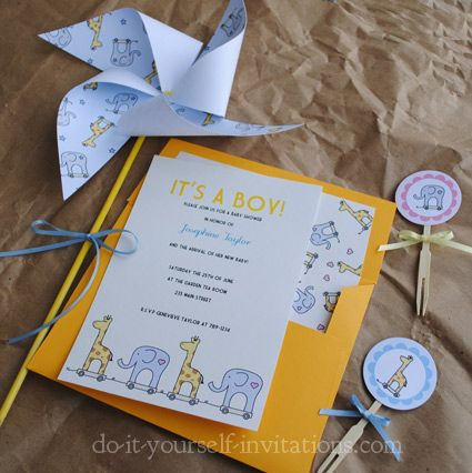 Giraffe And Elephant Printable Baby Shower Invitation Kit: Includes 5x7  Invitation, Envelope Liner,