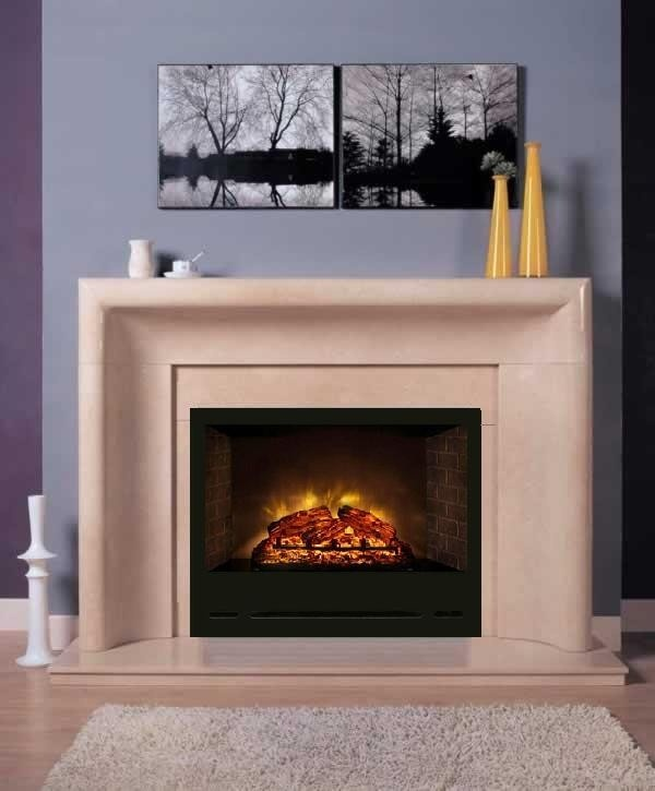 (http://www.designthespace.com/products/electric-fireplace-curved-bolection-marble-mantel.html)    An electric fireplace and a modern marble mantel.  Fireplace ideas!