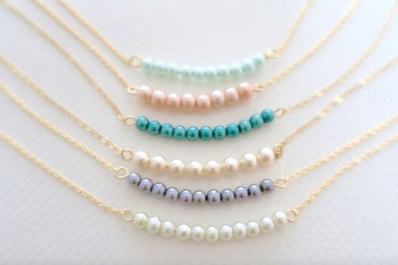 ❣Ð Delicate Pearl Necklace Pearl Bar Necklace,Gold Filled or Sterling Silver Chain, http://etsy.me/2aSV6kp