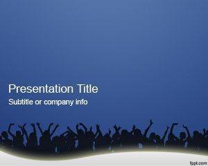 Crowd People PowerPoint Template is a great blue background with people crowd in the slide design that you can download for free for any presentation on events, shows as well as people crowd presentations