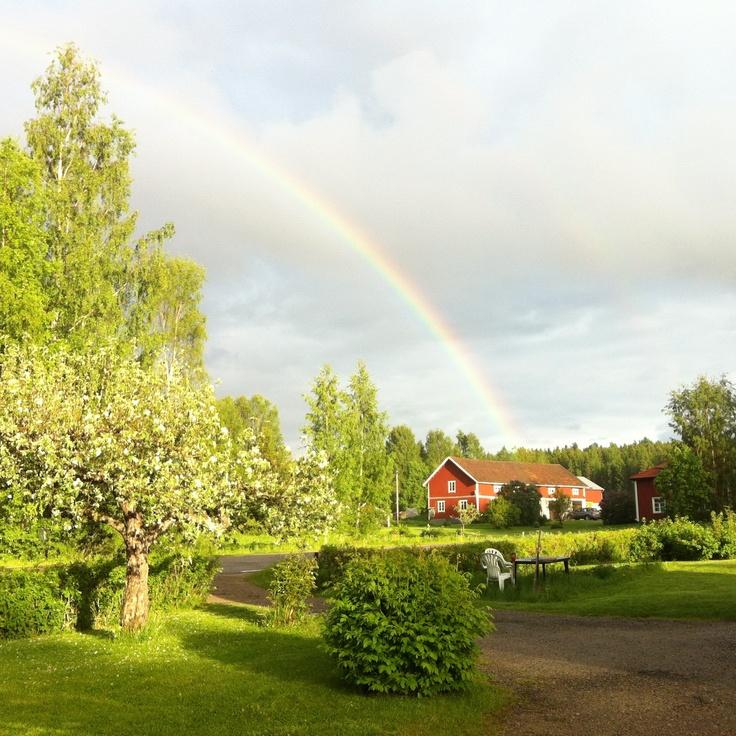 Regnbåge i Annefors, Hälsingland, Sweden