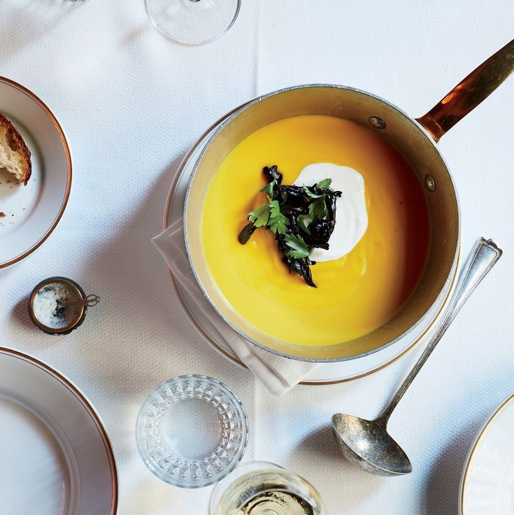 Pumpkin Soup with Trumpet Mushrooms and Sour Cream   Food & Wine