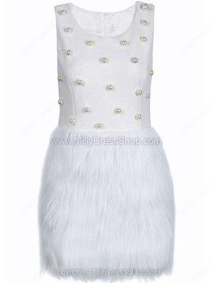 White Sleeveless Pearls Contrast Fur Dress