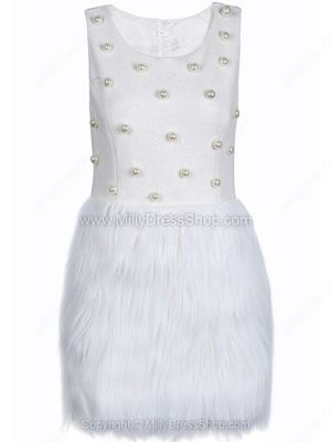 White Sleeveless Pearls Contrast Fur Dress