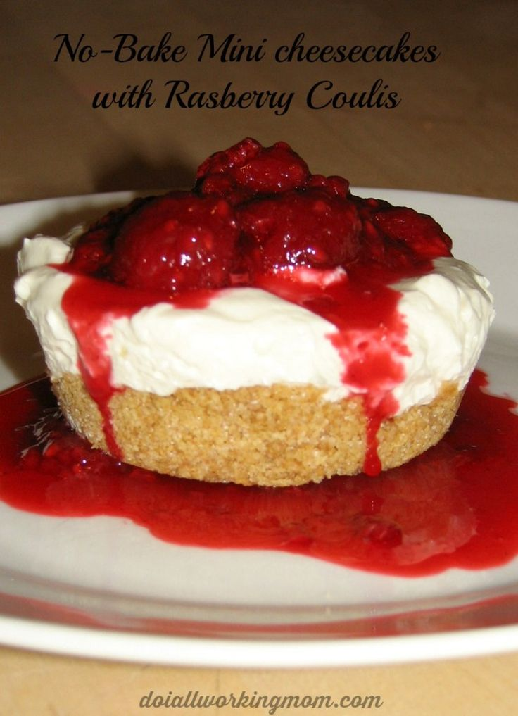 Valentine's day 3 course meal recipe- 3rd course - Dessert - No bake Mini-Cheesecakes with Raspberry Coulis