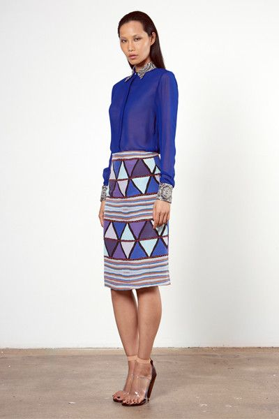 Silver Embellished Blue Shirt and Mary Skirt Roopa Pemmaraju Autumn/ Winter 2014, Bamal Collection. Artist: Mary Napangardi Gallagher from Waringarri Aboriginal Arts, Kununurra, Australia Top: http://roopapemmaraju.com/collections/tops/products/silver-embellished-blue-shirt Skirt: http://roopapemmaraju.com/collections/skirts/products/mary-skirt