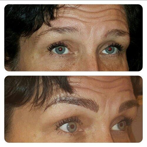 Hair stroke technique eyebrows