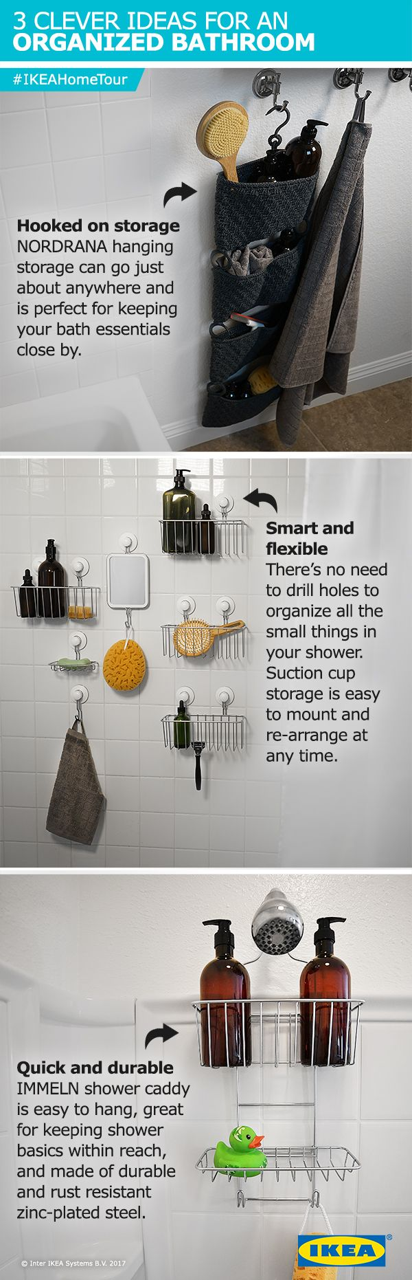 Everyone could use better, more efficient shower organization and storage. The #IKEAHomeTour Squad created simple and affordable solutions in their latest bathroom makeover.