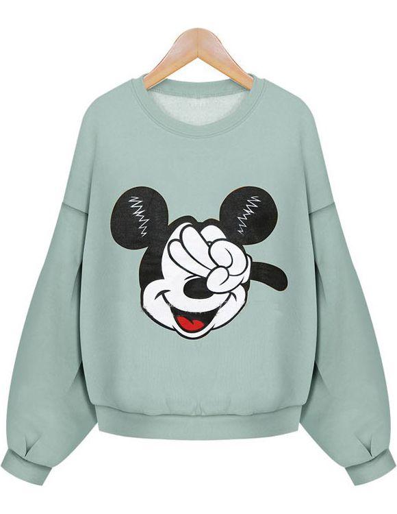 Sweat-shirt court image Mickey à manche longue -vert  15.02