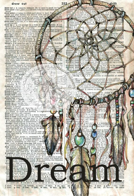6 x 9 Print of Original, Mixed Media Drawing on Distressed, Dictionary Page    This drawing of a dream catcher is drawn in sepia ink and created with