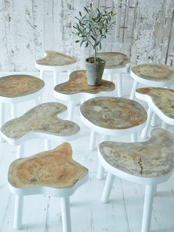 Individuell & einzigartig: Schicke Baumstammtische in weiß #diy #Wohnidee