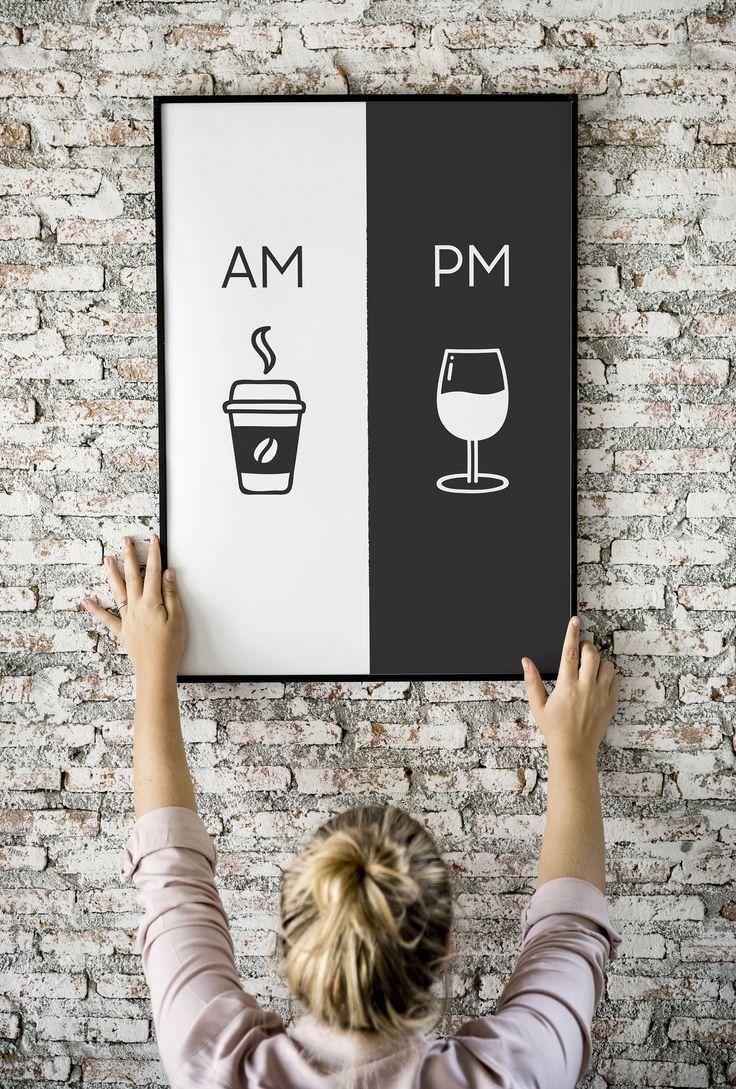 Am Pm, druckbare Kunst, Küche Poster, Kaffee & Wein Dekor, Wohnkultur, Wandkunst, Am Pm