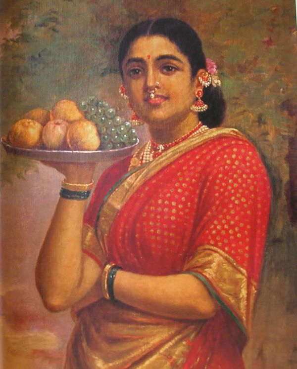 #IndianPaintings - The Maharashtrian Lady (oil painting on canvas) - Painting of a traditionally dressed lady of Maharashtra, India. Oil painting on canvas by Raja Ravi Varma - Kowdiar Palace, Thiruvananthapuram, Kerala.