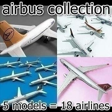 Airbus Collection 3D Model-   Collection of 5 Airbus planes:1. Airbus 310 (5 airlines)2. Airbus 320 (5 airlines)3. Airbus 321 (6 airlines)4. Airbus 330 (1 airline)5. Airbus 340 (1 airline)Thats almost 20 differend planes - #3D_model #Aircraft Collections,#Cargo Passenger,#Commercial