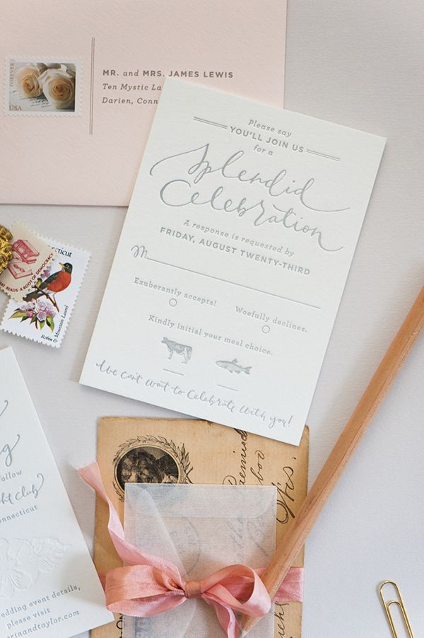 sample wedding invitation email wording to colleagues%0A Romantic Blush and Gray Wedding Invitations