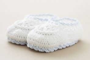 Christening Baby Shoes White Cotton Crochet with blue edge SC67