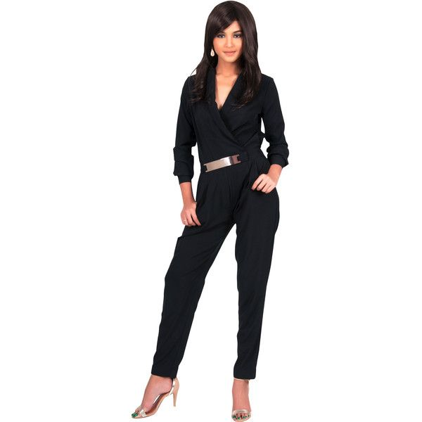KOH KOH Black Metallic Belt Long Sleeve Italian Silk Jumpsuit Romper featuring polyvore women's fashion clothing jumpsuits rompers black romper jumpsuit playsuit jumpsuit jump suit metallic jumpsuit long sleeve jumpsuit
