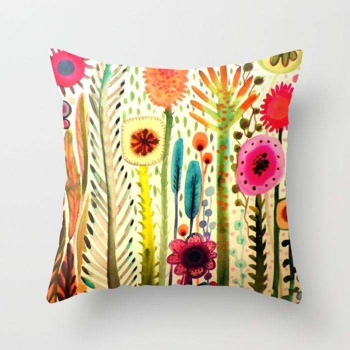 Colorful flowers - printemps Throw Pillow by Sylvie Demers | Society6