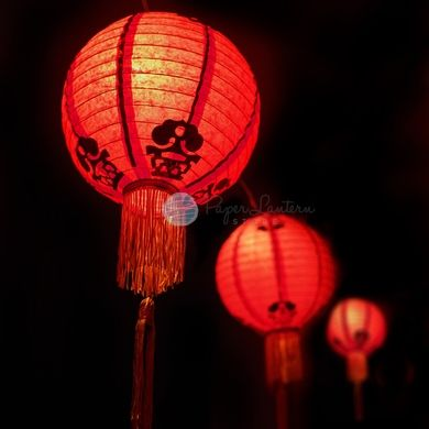 """8"""" Traditional Chinese New Year Paper Lantern String Light COMBO Kit (12 FT, EXPANDABLE, Black Cord)"""
